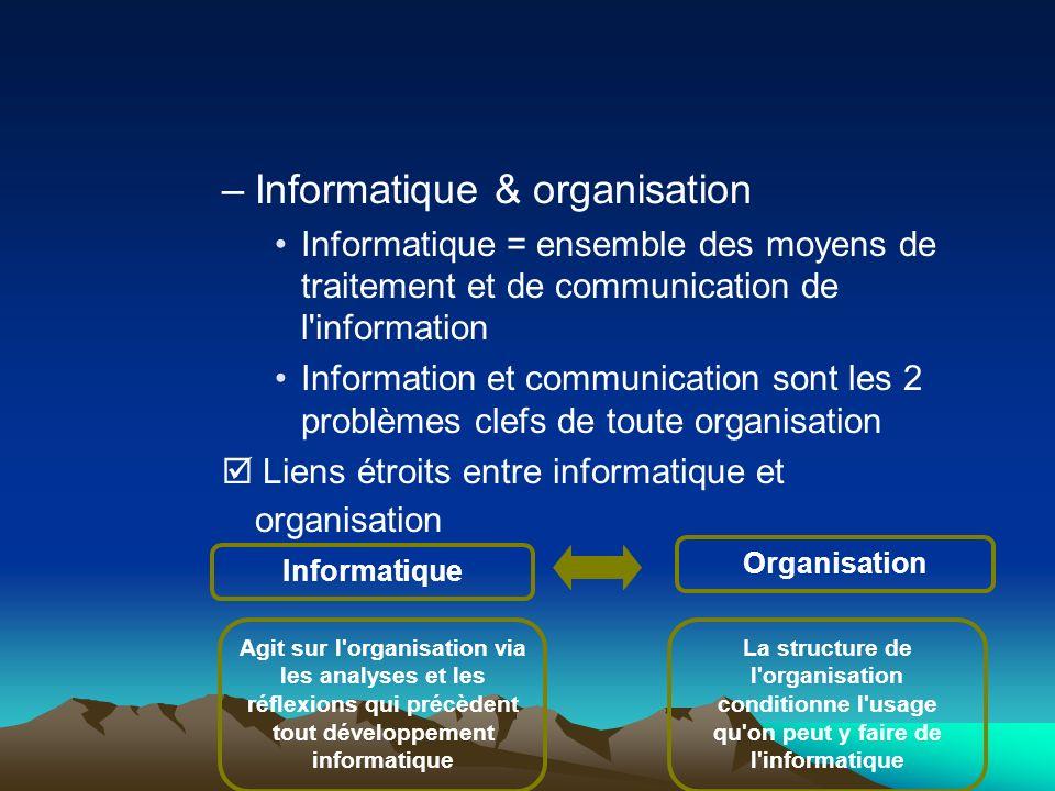 –Informatique & organisation Informatique = ensemble des moyens de traitement et de communication de l'information Information et communication sont l