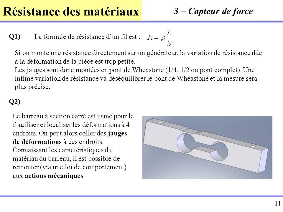 Résistance des matériaux 11 3 – Capteur de force Q1) La formule de résistance dun fil est : Si on monte une résistance directement sur un générateur,