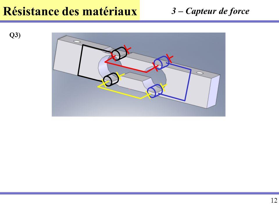 Résistance des matériaux 12 3 – Capteur de force Q3)