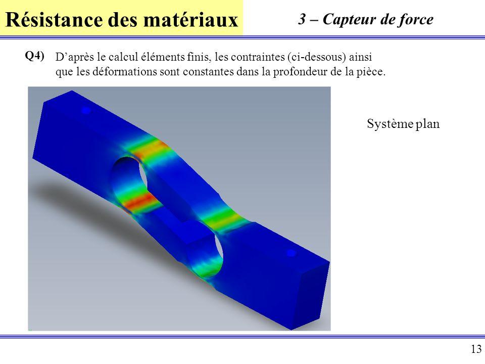 Résistance des matériaux 13 3 – Capteur de force Q4) Daprès le calcul éléments finis, les contraintes (ci-dessous) ainsi que les déformations sont con