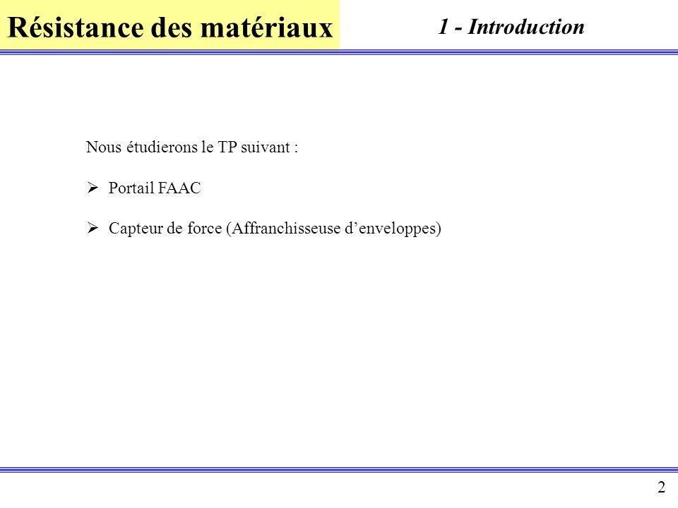 Résistance des matériaux 2 1 - Introduction Nous étudierons le TP suivant : Portail FAAC Capteur de force (Affranchisseuse denveloppes)