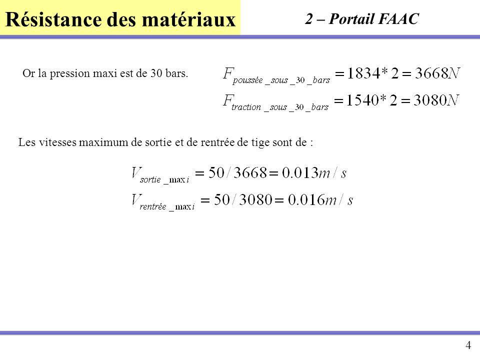 Résistance des matériaux 4 2 – Portail FAAC Or la pression maxi est de 30 bars. Les vitesses maximum de sortie et de rentrée de tige sont de :