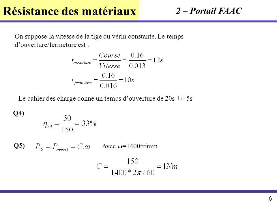 Résistance des matériaux 6 2 – Portail FAAC On suppose la vitesse de la tige du vérin constante. Le temps douverture/fermeture est : Q4) Le cahier des