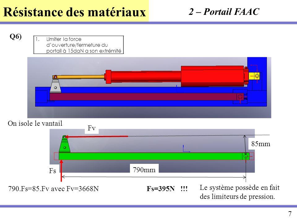 Résistance des matériaux 7 2 – Portail FAAC Q6) 1.Limiter la force douverture/fermeture du portail à 15daN a son extrémité 85mm 790mm Fs Fv On isole l
