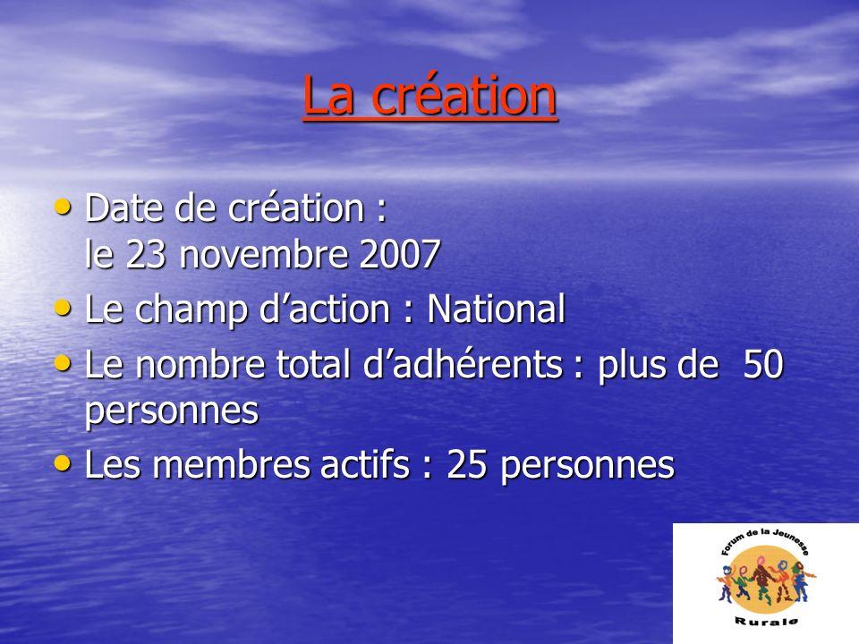 La création Date de création : le 23 novembre 2007 Date de création : le 23 novembre 2007 Le champ daction : National Le champ daction : National Le n