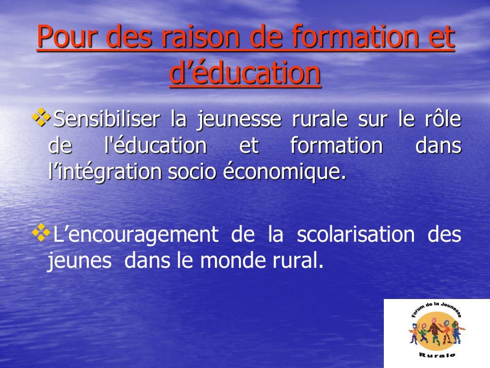 Pour des raison de formation et déducation Sensibiliser la jeunesse rurale sur le rôle de l'éducation et formation dans lintégration socio économique.