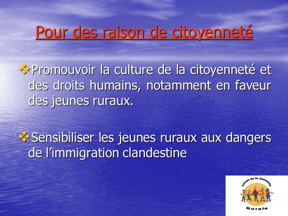 Pour des raison de citoyenneté Promouvoir la culture de la citoyenneté et des droits humains, notamment en faveur des jeunes ruraux. Promouvoir la cul