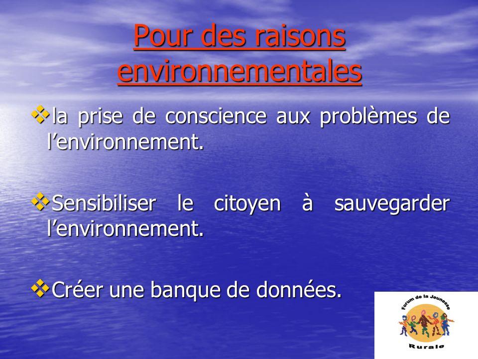 Pour des raisons environnementales la prise de conscience aux problèmes de lenvironnement. la prise de conscience aux problèmes de lenvironnement. Sen