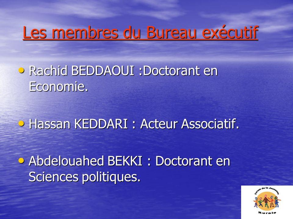 Les membres du Bureau exécutif Les membres du Bureau exécutif Rachid BEDDAOUI :Doctorant en Economie. Rachid BEDDAOUI :Doctorant en Economie. Hassan K