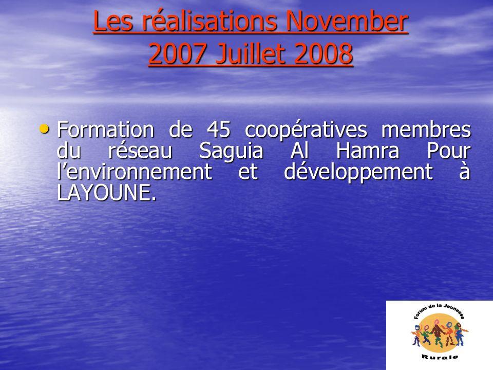Les réalisations November 2007 Juillet 2008 Formation de 45 coopératives membres du réseau Saguia Al Hamra Pour lenvironnement et développement à LAYO
