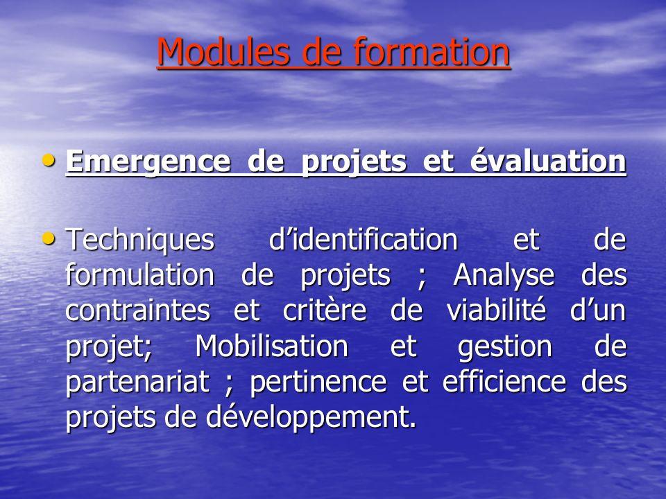 Modules de formation Emergence de projets et évaluation Emergence de projets et évaluation Techniques didentification et de formulation de projets ; A
