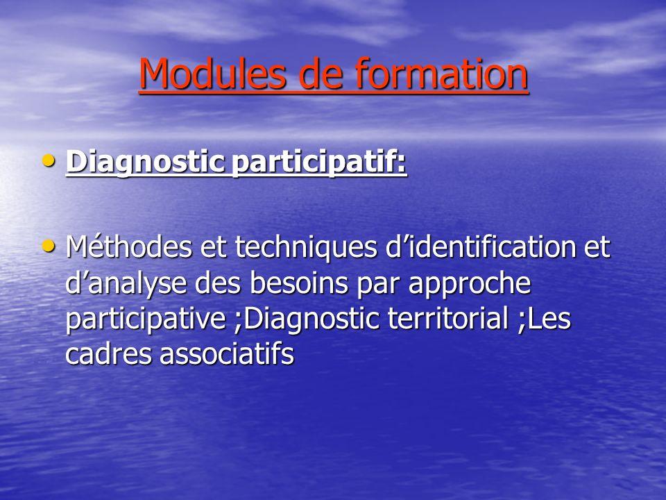 Modules de formation Diagnostic participatif: Diagnostic participatif: Méthodes et techniques didentification et danalyse des besoins par approche par