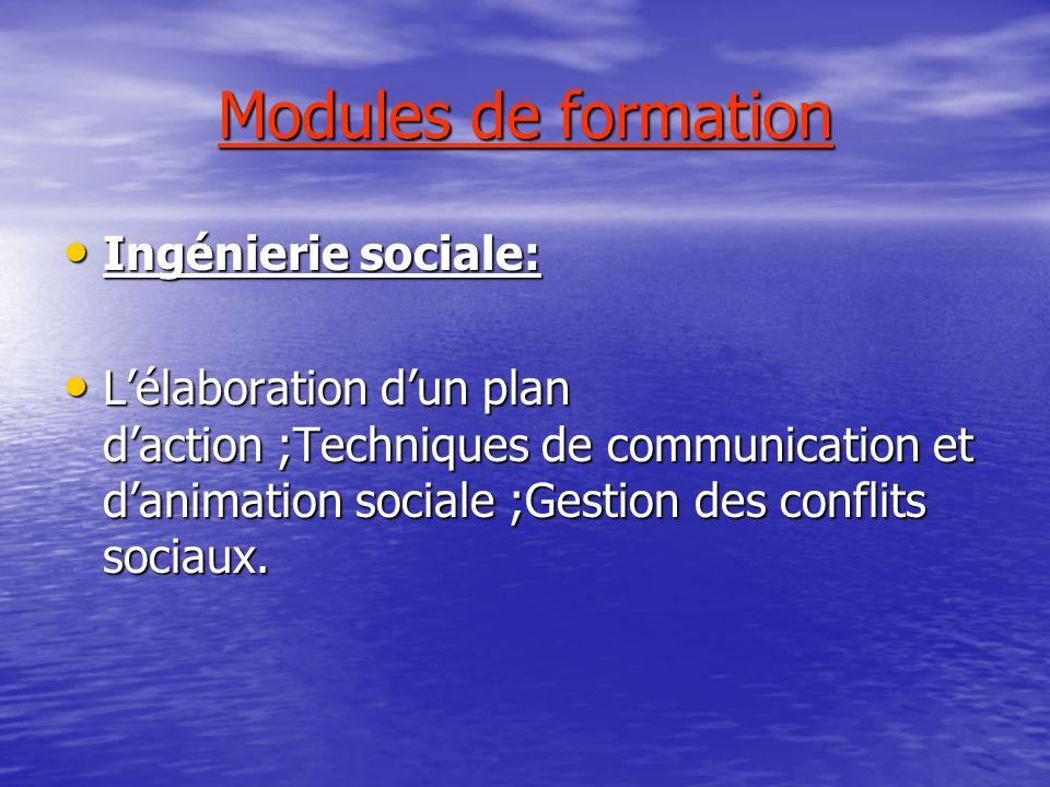 Modules de formation Ingénierie sociale: Ingénierie sociale: Lélaboration dun plan daction ;Techniques de communication et danimation sociale ;Gestion