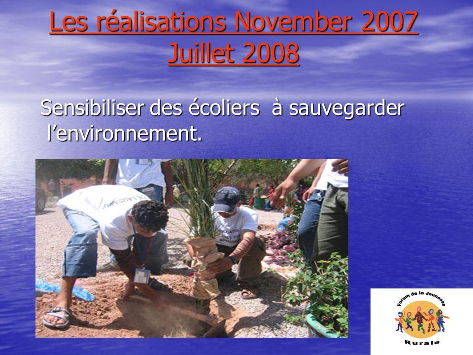 Les réalisations November 2007 Juillet 2008 Sensibiliser des écoliers à sauvegarder lenvironnement.