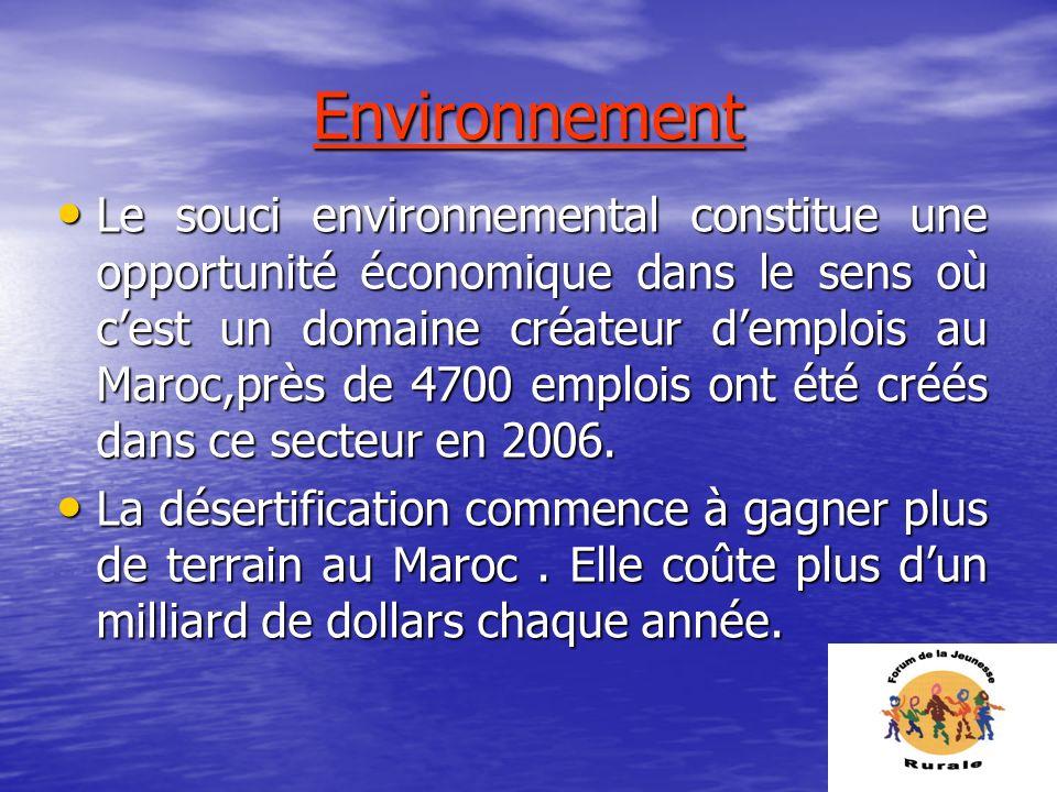 Environnement Le souci environnemental constitue une opportunité économique dans le sens où cest un domaine créateur demplois au Maroc,près de 4700 em