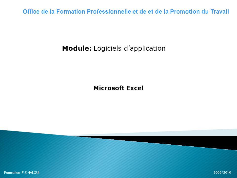 2009/2010 Formatrice: F.Z HALOUI Module: Logiciels dapplication Microsoft Excel Office de la Formation Professionnelle et de et de la Promotion du Tra