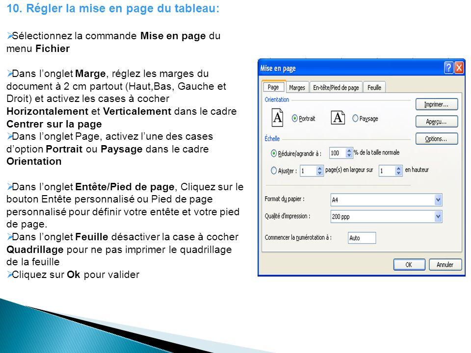 10. Régler la mise en page du tableau: Sélectionnez la commande Mise en page du menu Fichier Dans longlet Marge, réglez les marges du document à 2 cm