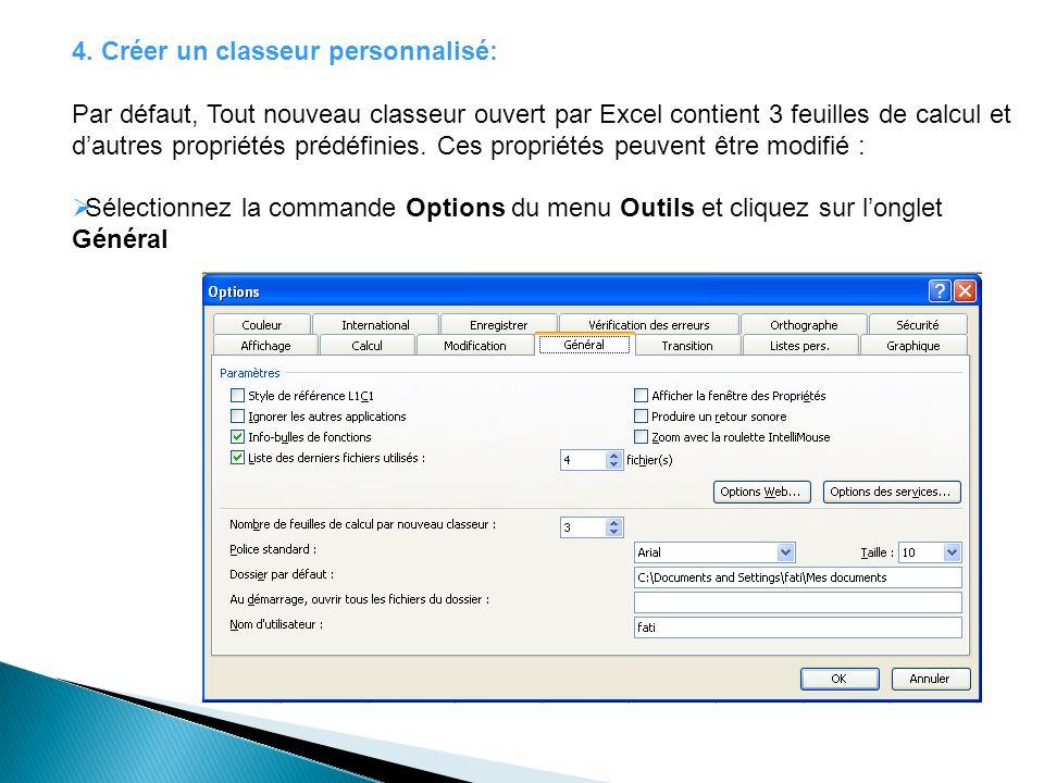 4. Créer un classeur personnalisé: Par défaut, Tout nouveau classeur ouvert par Excel contient 3 feuilles de calcul et dautres propriétés prédéfinies.