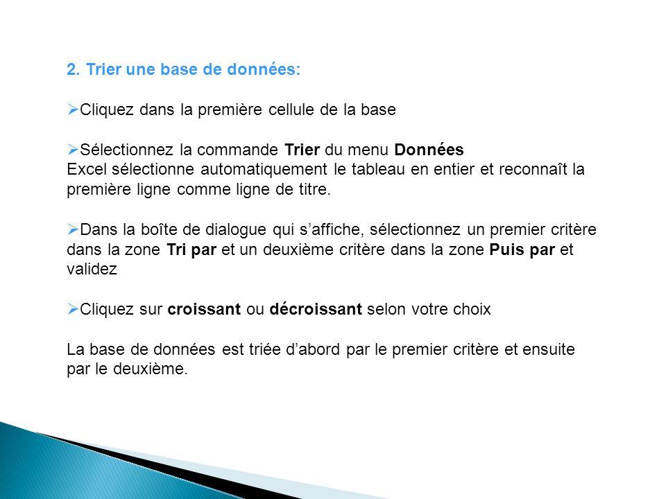 2. Trier une base de données: Cliquez dans la première cellule de la base Sélectionnez la commande Trier du menu Données Excel sélectionne automatique