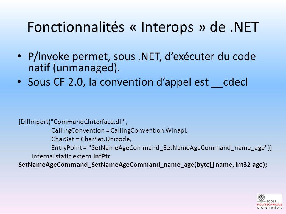 Fonctionnalités « Interops » de.NET P/invoke permet, sous.NET, dexécuter du code natif (unmanaged).