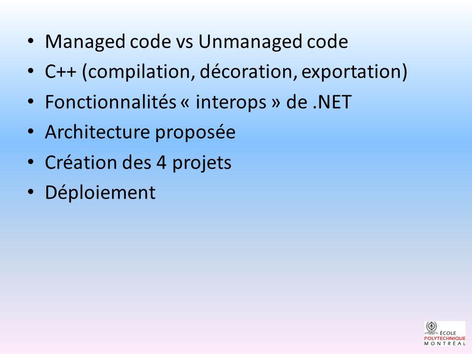 Managed Code vs Unmanaged code Managed code : code exécuter (interpréter) sous le « framework ».NET.