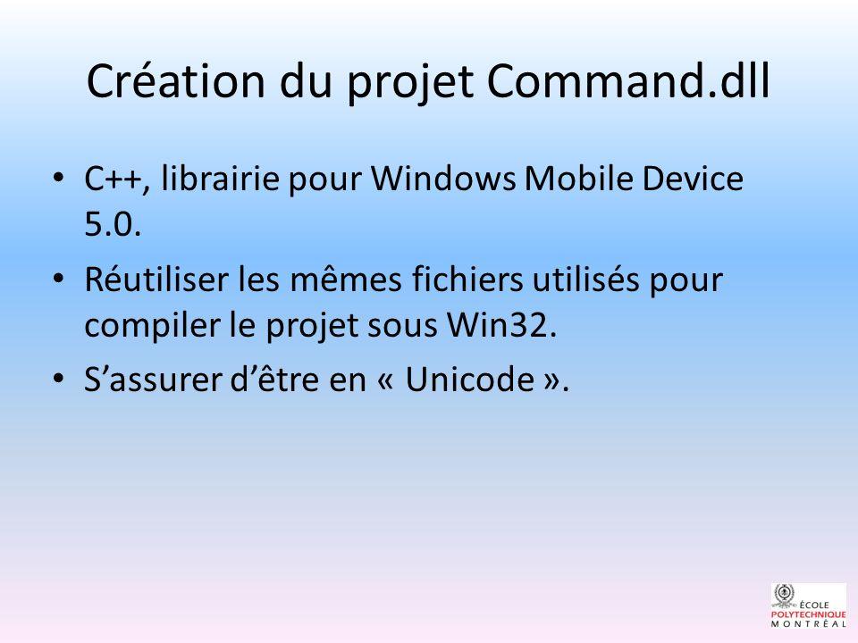 Création du projet Command.dll C++, librairie pour Windows Mobile Device 5.0.