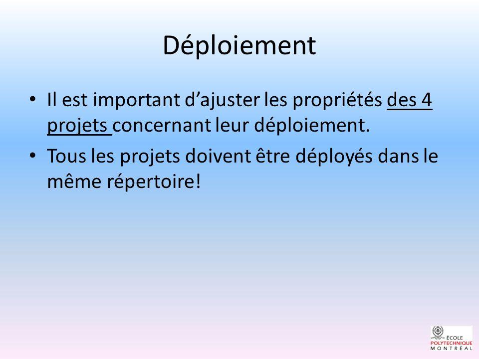Déploiement Il est important dajuster les propriétés des 4 projets concernant leur déploiement.