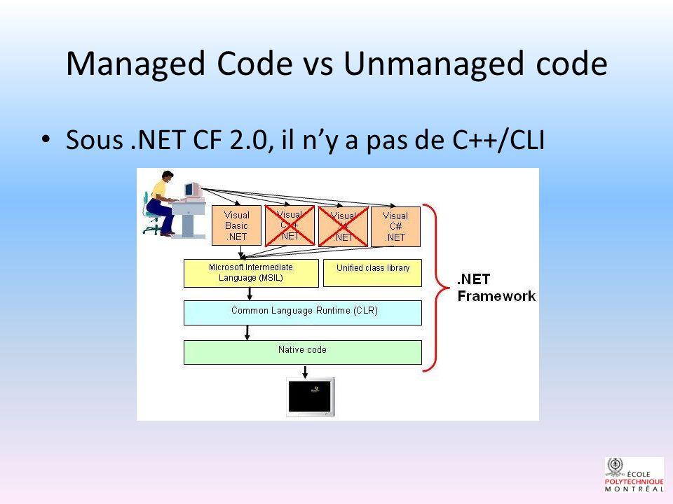 Sous.NET CF 2.0, il ny a pas de C++/CLI Managed Code vs Unmanaged code