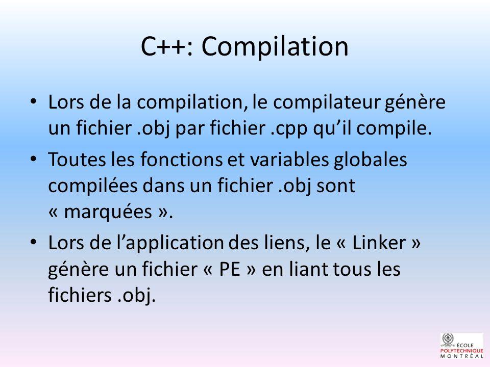 C++: Compilation Lors de la compilation, le compilateur génère un fichier.obj par fichier.cpp quil compile.