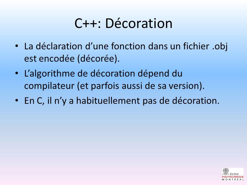 C++: Décoration Exemple: soit la variable globale « int dllVersion ».