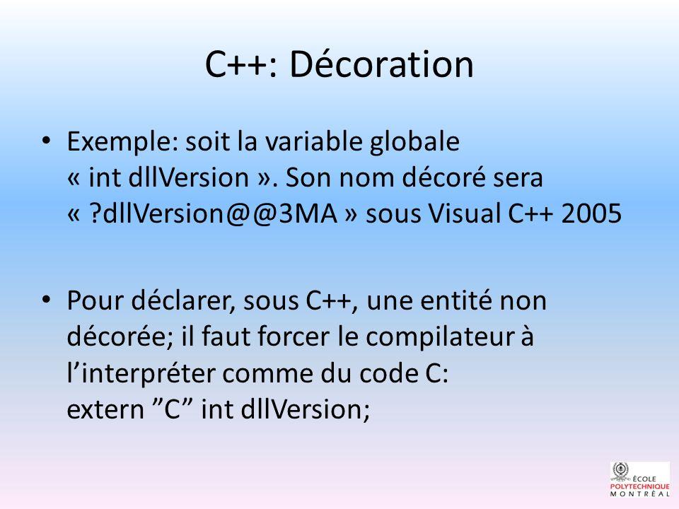 C++: Exportation Pour exporter une variable globale ou fonction, sa déclaration doit être ajoutée dans la table dexportation du fichier « PE ».