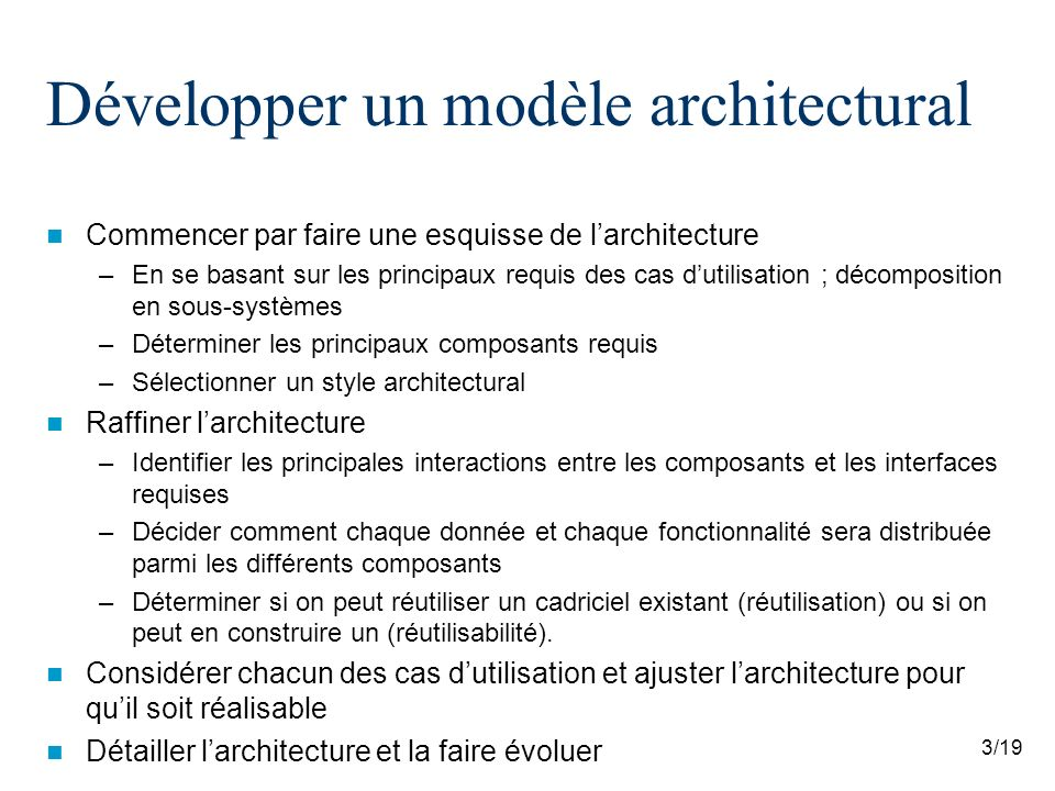 4/19 Développer un modèle architectural Décrire larchitecture avec UML –Tous les diagrammes UML peuvent être utiles pour décrire les différents aspects du modèle architectural –Trois des diagrammes UML sont particulièrement utile pour décrire une architecture logicielle Diagramme de packages Diagramme de composants Diagramme de déploiement