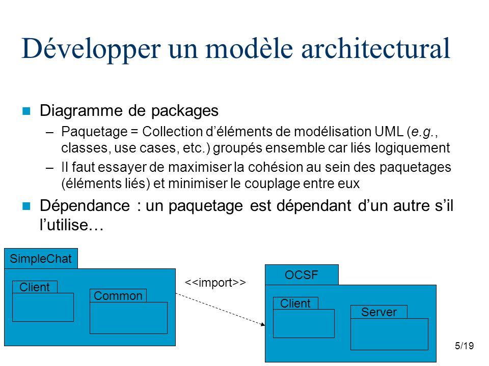 5/19 Développer un modèle architectural Diagramme de packages –Paquetage = Collection déléments de modélisation UML (e.g., classes, use cases, etc.) g