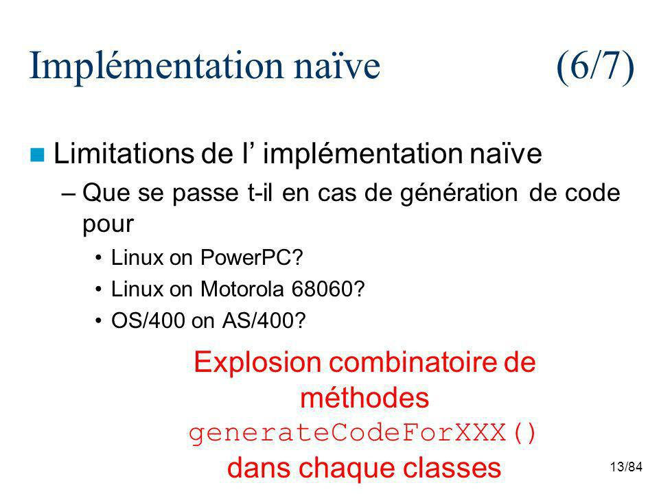 13/84 Implémentation naïve (6/7) Limitations de l implémentation naïve –Que se passe t-il en cas de génération de code pour Linux on PowerPC? Linux on