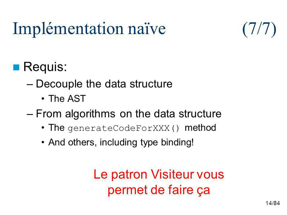 14/84 Implémentation naïve (7/7) Requis: –Decouple the data structure The AST –From algorithms on the data structure The generateCodeForXXX() method And others, including type binding.