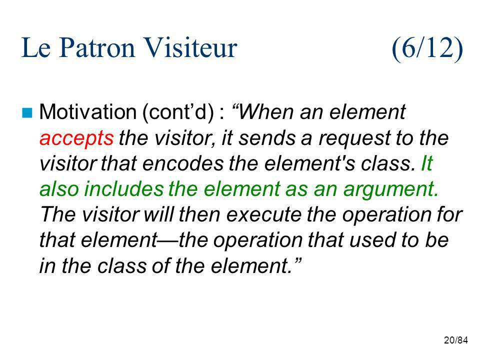 20/84 Le Patron Visiteur (6/12) Motivation (contd) : When an element accepts the visitor, it sends a request to the visitor that encodes the element's