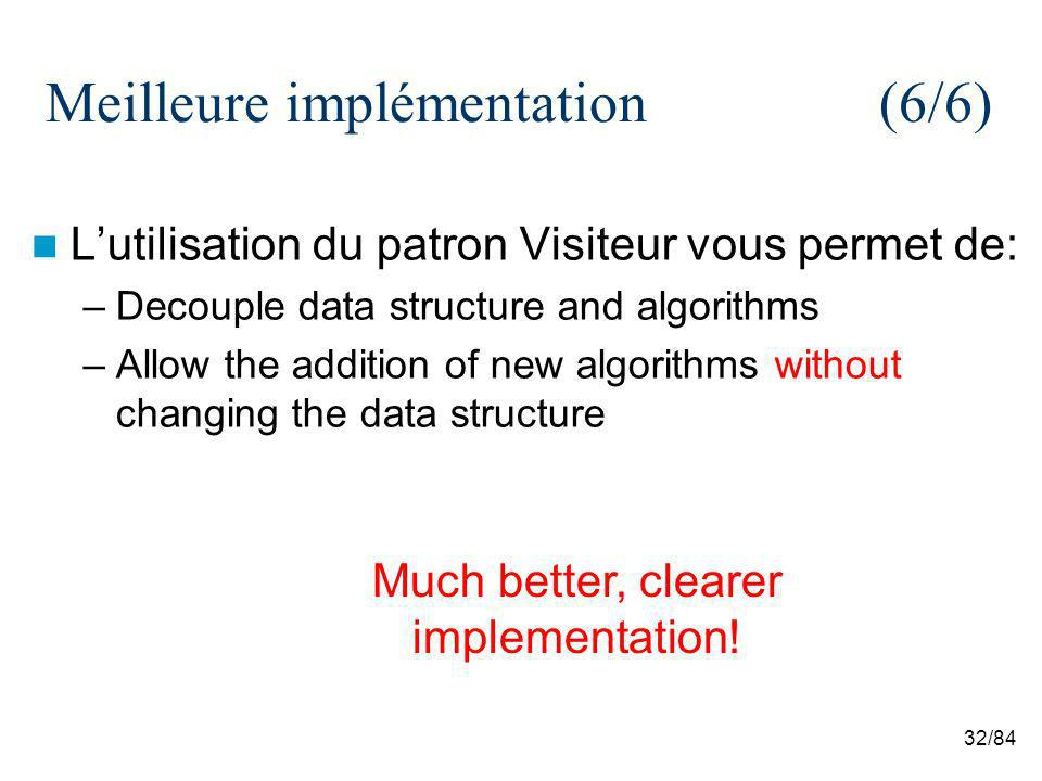 32/84 Meilleure implémentation (6/6) Lutilisation du patron Visiteur vous permet de: –Decouple data structure and algorithms –Allow the addition of new algorithms without changing the data structure Much better, clearer implementation!