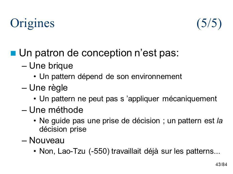 43/84 Origines(5/5) Un patron de conception nest pas: –Une brique Un pattern dépend de son environnement –Une règle Un pattern ne peut pas s appliquer