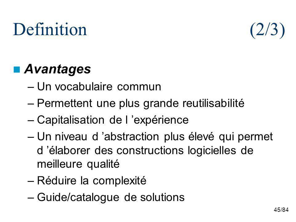 45/84 Definition(2/3) Avantages –Un vocabulaire commun –Permettent une plus grande reutilisabilité –Capitalisation de l expérience –Un niveau d abstra