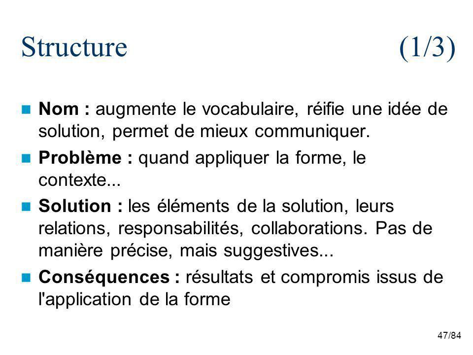 47/84 Structure (1/3) Nom : augmente le vocabulaire, réifie une idée de solution, permet de mieux communiquer. Problème : quand appliquer la forme, le
