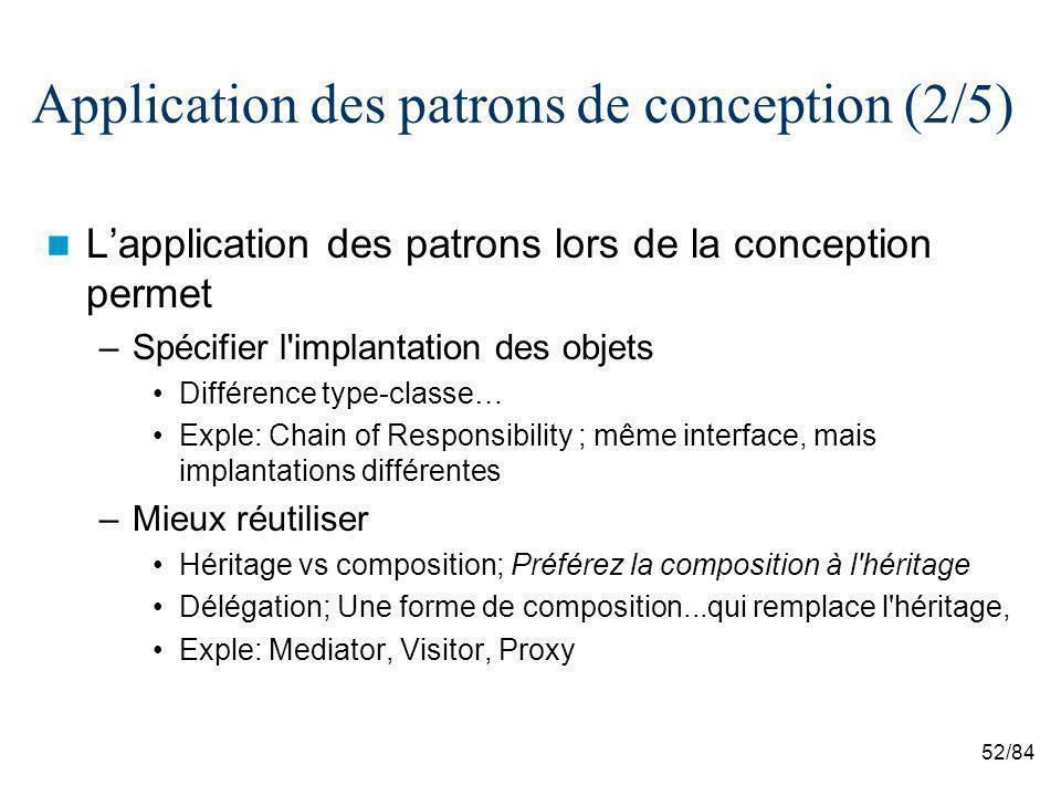 52/84 Application des patrons de conception (2/5) Lapplication des patrons lors de la conception permet –Spécifier l'implantation des objets Différenc