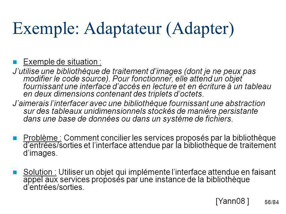 56/84 Exemple: Adaptateur (Adapter) Exemple de situation : Jutilise une bibliothèque de traitement dimages (dont je ne peux pas modifier le code source).