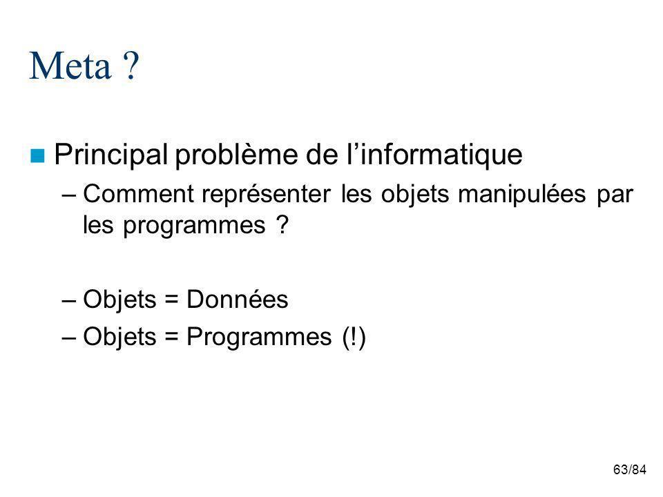 63/84 Meta ? Principal problème de linformatique –Comment représenter les objets manipulées par les programmes ? –Objets = Données –Objets = Programme