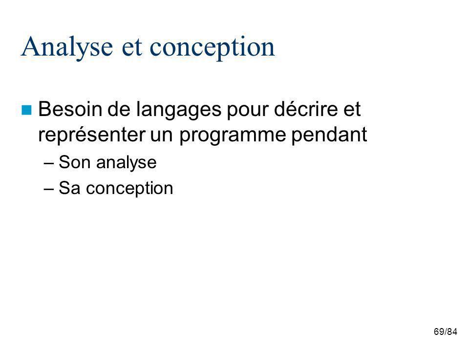 69/84 Analyse et conception Besoin de langages pour décrire et représenter un programme pendant –Son analyse –Sa conception