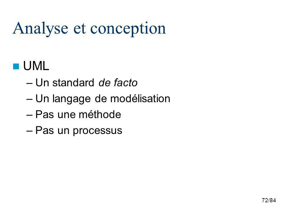 72/84 Analyse et conception UML –Un standard de facto –Un langage de modélisation –Pas une méthode –Pas un processus