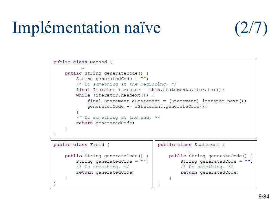 9/84 Implémentation naïve (2/7) public class Method { … public String generateCode() { String generatedCode = ; /* Do something at the beginning.