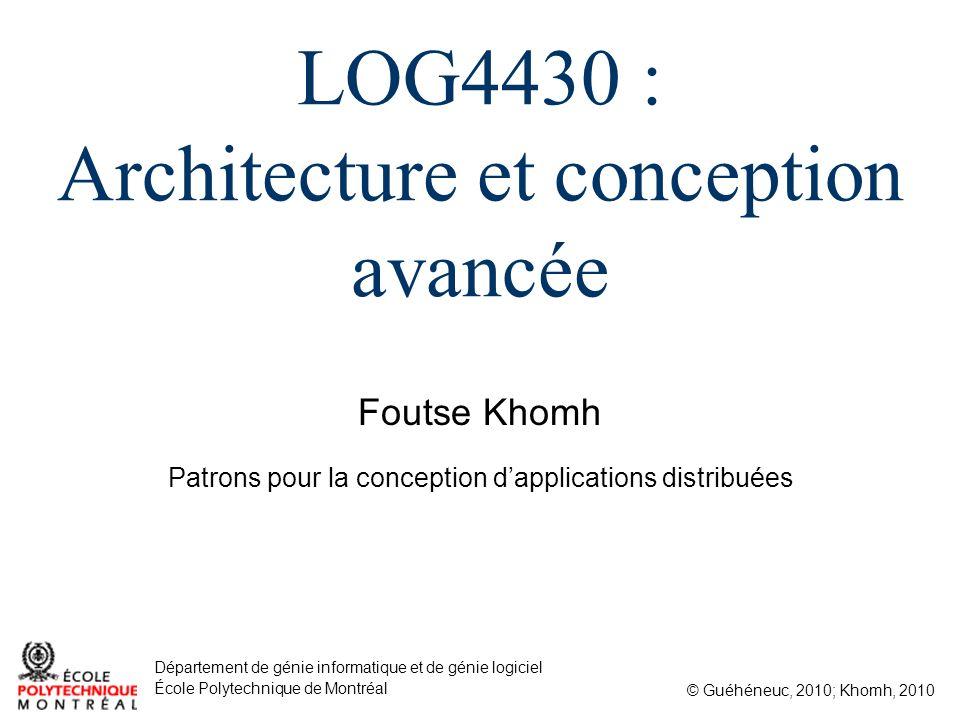Foutse Khomh © Guéhéneuc, 2010; Khomh, 2010 Département de génie informatique et de génie logiciel École Polytechnique de Montréal LOG4430 : Architect