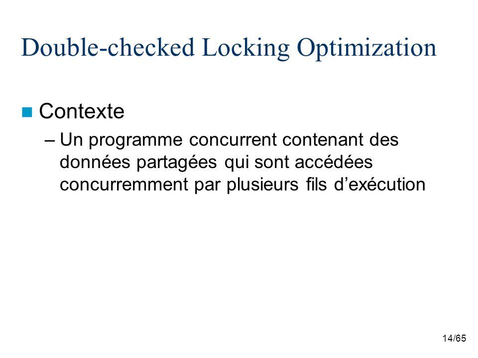 14/65 Double-checked Locking Optimization Contexte –Un programme concurrent contenant des données partagées qui sont accédées concurremment par plusie
