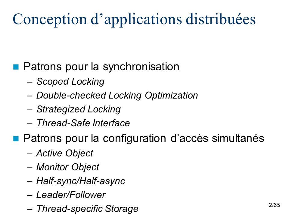 53/65 Half-sync/Half-async Limitations –Surcout lors du passage dune couche a une autre a cause de la copie des données et du changement de contexte –Entrées–sorties asynchrones ne sont pas disponibles pour les tâches de haut niveau