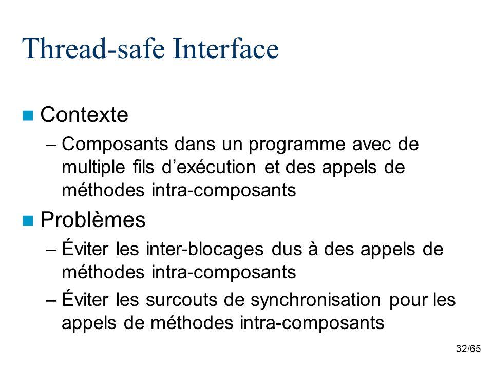 32/65 Thread-safe Interface Contexte –Composants dans un programme avec de multiple fils dexécution et des appels de méthodes intra-composants Problèm